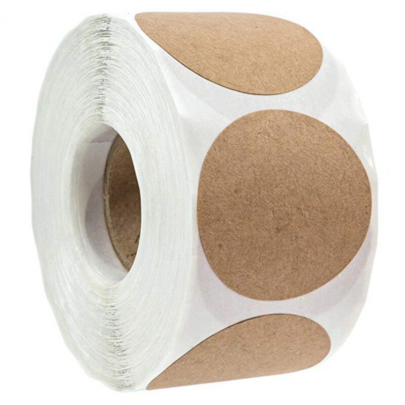 1 дюйм круговой натуральный коричневый крафт-наклейки 500 штук в рулоне, ручные поделки наклейки для Подарочная коробка посылка скрап-стикер ...