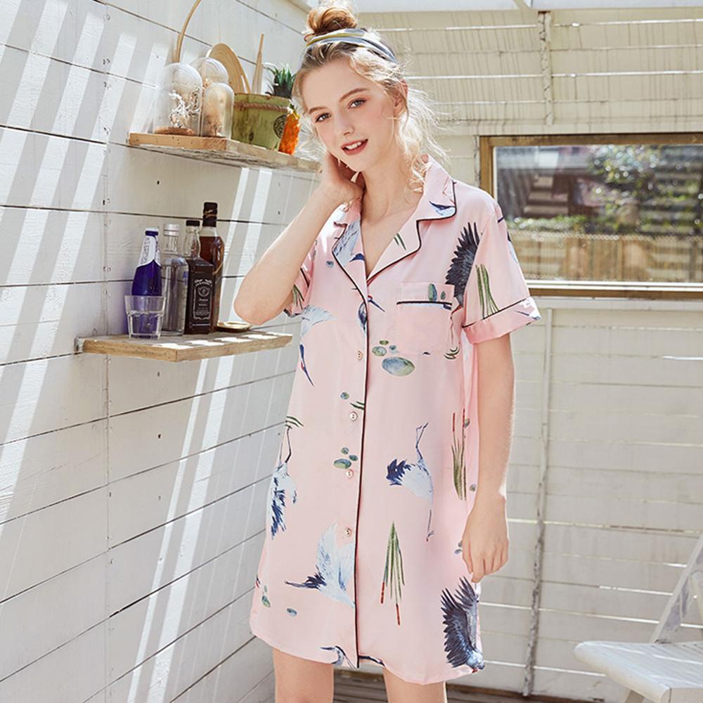 Women Summer Short Style Printed Silk Home   Nightgown     Sleepshirts   printed Sets sexy women sleepwear dress set #0807