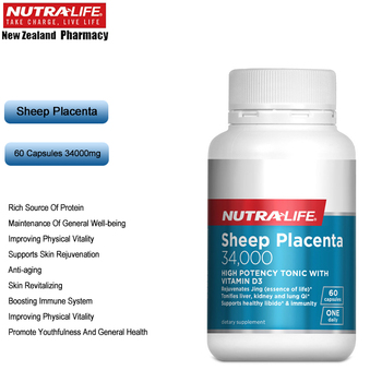 NutraLife Sheep Placenta 34000mg 60Capsules Women Health Wellness Dietary Anti Aging Supplement Protein Amino Acids Vitality image