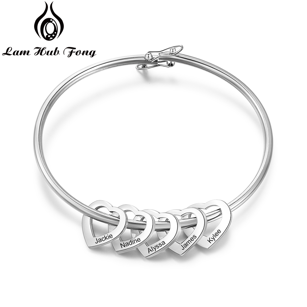 Personalized Bracelet Bangle with 2-5 Heart Charms Custom Women Stainless Steel Bracelet Jewelry Family Gift (Lam Hub Fong)