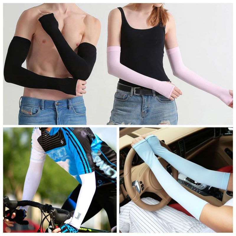 Auto Accessories Arm Sun Sleeves Long Sunblock Ice Silk Cooler Sleeves Arm Cover With Thumb Hole For Running Biking
