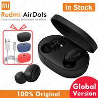 Xiaomi airdots redmi airdots sem fio bluetooth 5.0 fone de ouvido estéreo baixo fones de ouvido com microfone handsfree fones de controle de ia