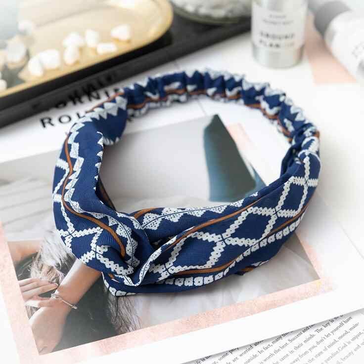 แฟชั่นพิมพ์ดอกไม้พิมพ์โบว์แถบคาดศีรษะผู้หญิงVINTAGE Hairband Headwear Leopard Headbandอุปกรณ์เสริมผม
