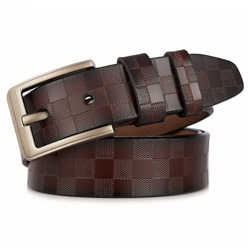 2019 Men's Belt Leather Men's Casual Pin Buckle Belt Plating Pattern High-grade Pure Leather Belt Men