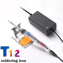 T12 Mini Electric Iron Adjustable Temperature + Tip DC 12-24V 75W Digital Display Soldering Iron DIY Handle Kit