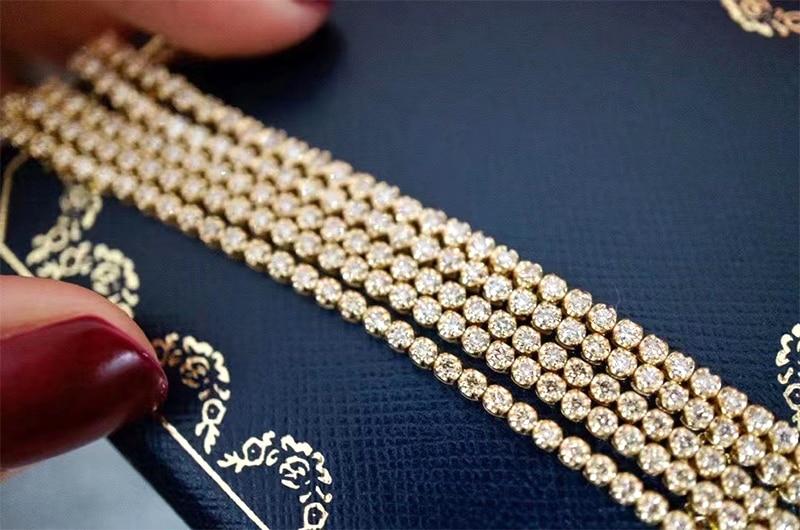 LUOWEND 18K Au750 Solid Yellow Gold Bracelet Real Natural Diamond Bracelet Fashion Tennis Bracelet Fine Jewelry Customize 2