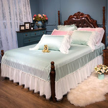 White Ruffled Skirt sheet 4 Corners Split Bed skirt Queen size 3Pcs Egyptian Cotton Pink Green Girls Bed sheet set Pillowcase(China)