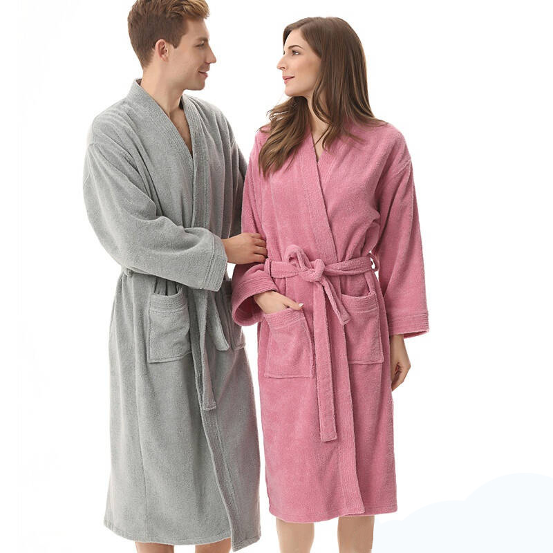 Bielizna Nocna Toweling Robe Homewear 100% Cotton Unisex Robe Lovers Sleeprobe Double Faced Terry Sleeprobe Male Casual Robe