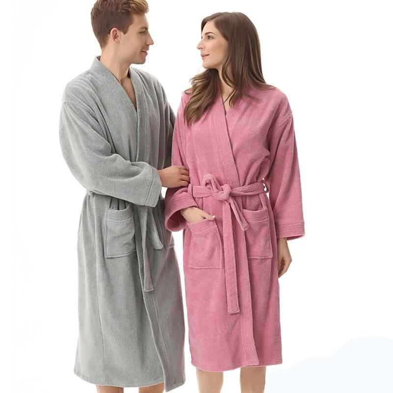 Bielizna Nocna Toweling Robe Homewear 100% Cotton Unisex Robe Lovers Sleeprobe Double Faced Terry Sleeprobe Male Casual Robe