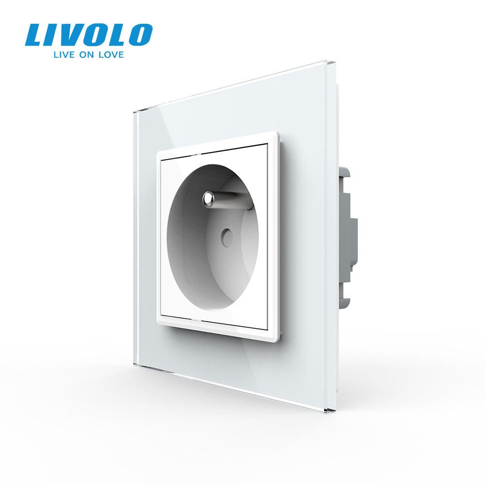 Livolo New OutletFrench Standard Wall Power Socket VL-C7C1FR-11White Crystal Glass Panel AC 100 250V 16Ano logo