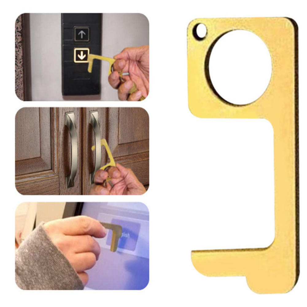 Handmade Antibacterial Door Opener Key Chain No-touch Door Handle Elevator Artifact Keychain Outdoors Door Opening Accessories