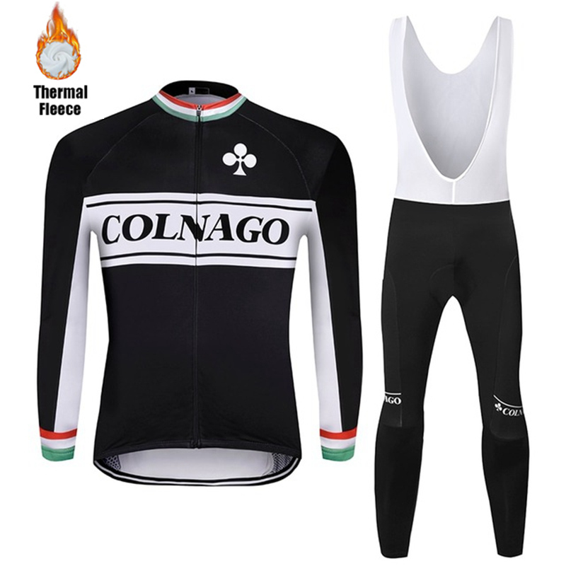 2020 Colnago Winter Cycling Clothing Bike Windproof Thermal Fleece Ciclismo Road Bicycle Jacket Men's Cycling Jersey Suit Velvet