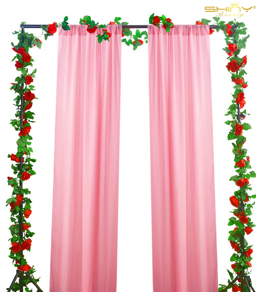 Nice Living Room Curtains 3ftx8ft Pink Backdrop Curtain Tulle Room Window Curtain Sheer Voile Panel Drapes M190918