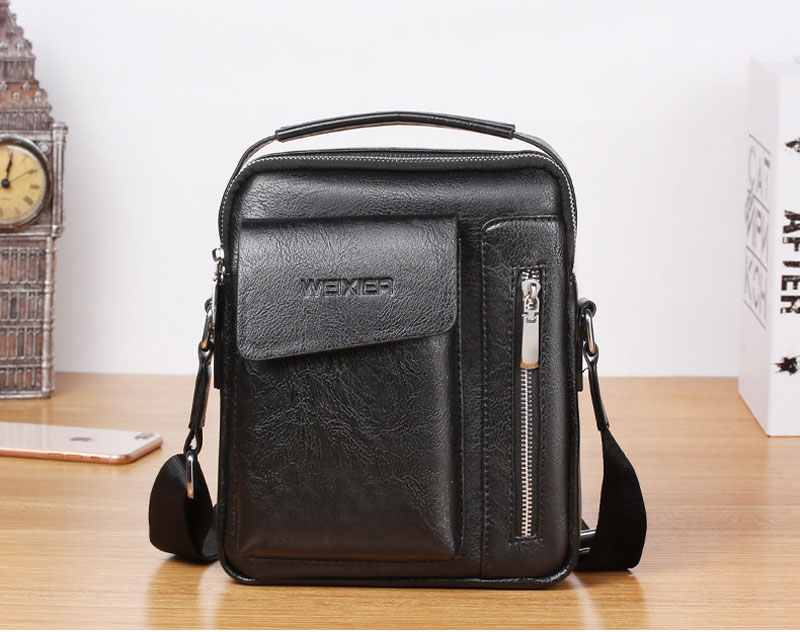 Leather-look cross-body bag for men