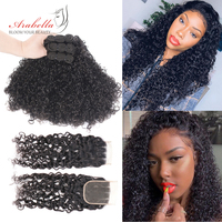 Curly Bundles With Closure Brazilian Remy Hair Natural Color 100% Human Hair Weave Bundles With Lace Closure Arabella Hair