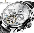 2019 mechanische Uhren Männer armbanduhr Hohl Silber Edelstahl Gürtel Business Uhr MOHDNE horloges mannen-in Mechanische Uhren aus Uhren bei