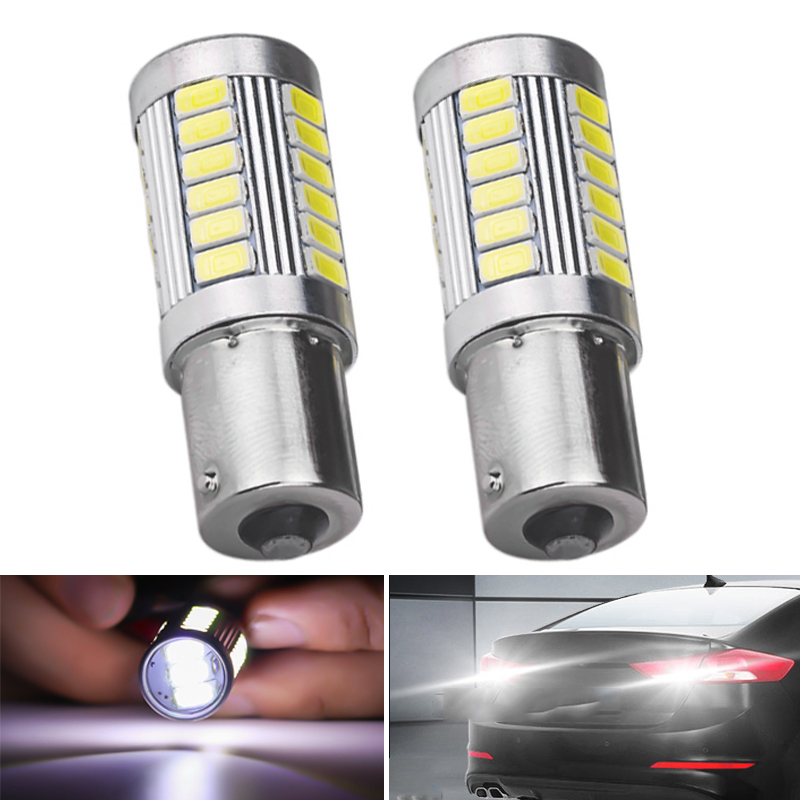 2PCs Car LED 1157 1156 7443 7440 P21W BA15S 33 SMD 5630 5730 White Backup Reserve Light Motor Brake Bulb Daytime Running Light