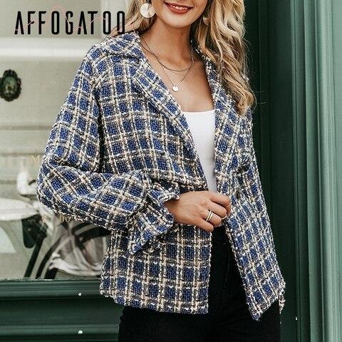 Affogatoo Casual loose women plaid tweed jacket coats Lantern sleeve streetwear coats Elastic high waist ladies outwear jackets Islamabad