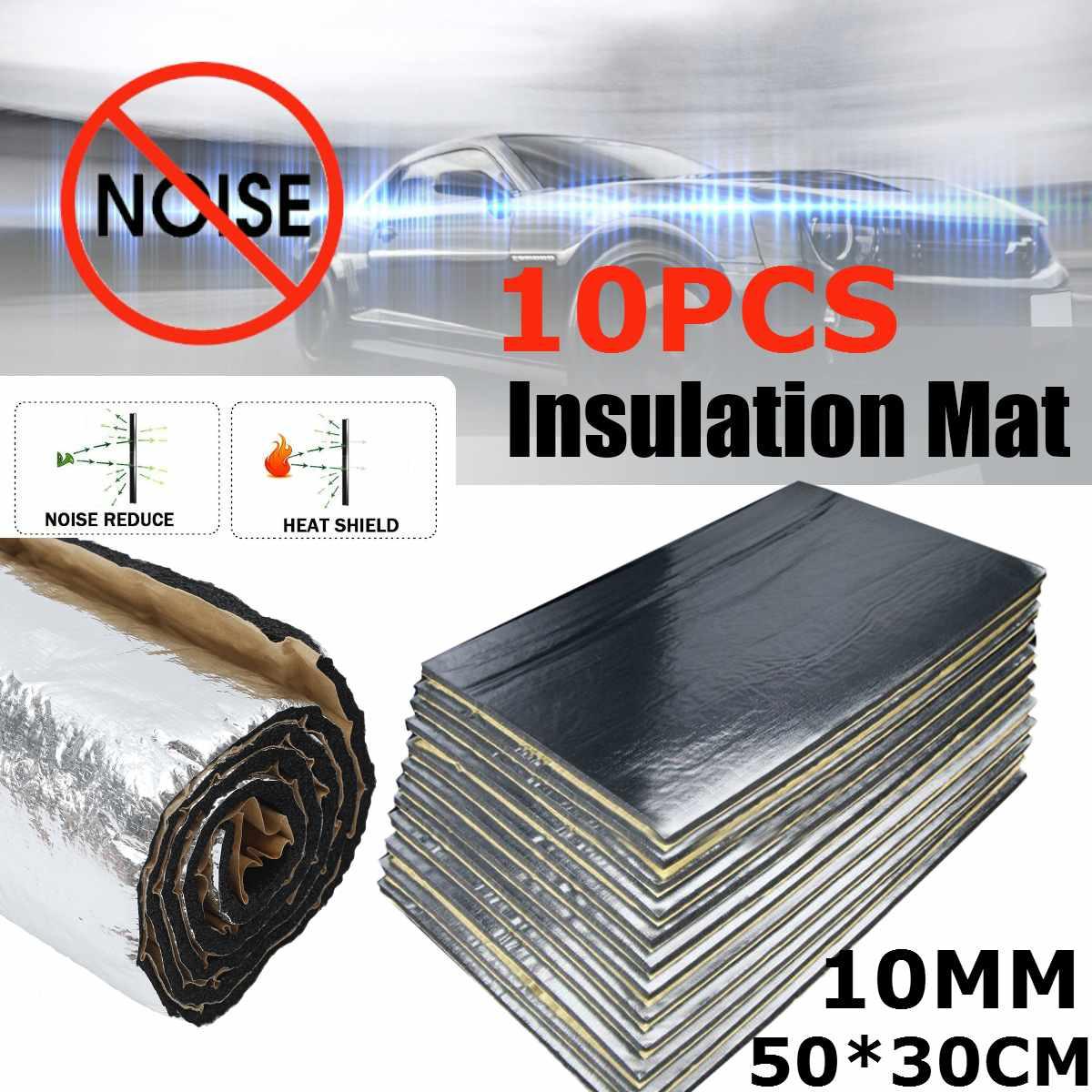 10Pcs 30x50cm 10mm Adhesive Car Soundproof Foam Cotton Home Deadening Insulation Pads Sound Absorbing Cotton Anti Noise Sponge