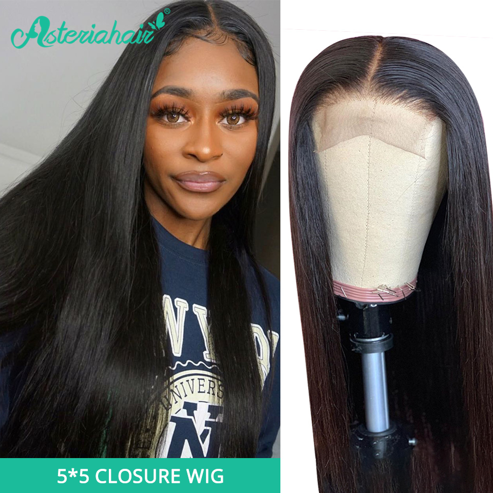 Asteria Closure Wigs Remy-Hair Lace Pre-Plucked Black Women Brazilian 5x5 Straight  title=