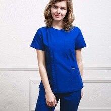 Женская мода, медицинская форма, боковое отверстие, передний скраб-топ со скрытой молнией+ брюки, медицинская рабочая одежда медсестры