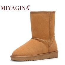 MIYAGINA New Arrival 100% prawdziwe futro klasyczne Mujer Botas wodoodporna prawdziwa skóra bydlęca skórzane buty śniegowe zimowe buty dla kobiet