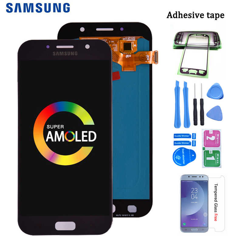 Original Super Amoled Für Samsung Galaxy A7 2017 A720 A720F LCD Display Touchscreen Digitizer Montage kostenloser versand