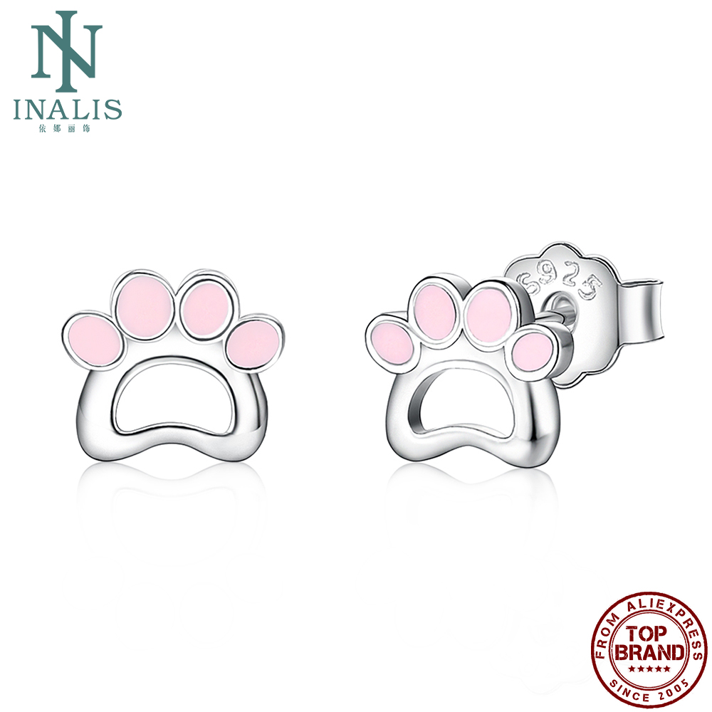 INALIS S925 Sterling Silver Pink Epoxy Earrings For Women Hollow Cute Puppy Footprint Stud Earring Charming Dating Jewelry