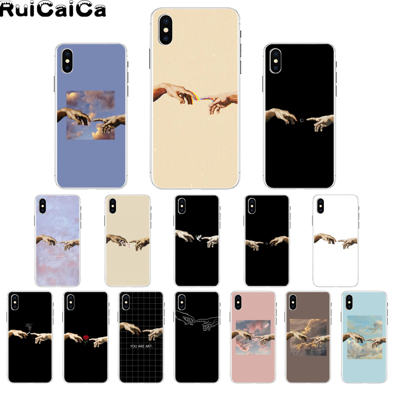 RuiCaiCa Funny Hand The Creation of Adam Newly Arrived Cell Phone Case for iPhone 8 7 6 6S Plus X XS MAX 5 5S SE XR 11 11pro