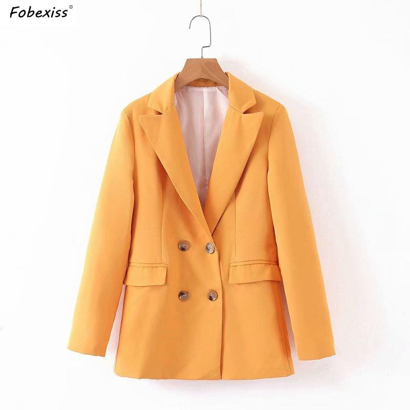 Orange Blazer Jackets Women Fall 2019 Long Sleeve Double Breasted Pocket Women Blazers Elegant Blue Office Blazer Ceket Women
