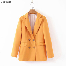 Orange Blazer Jackets Women Fall 2019 Long Sleeve Double Breasted Pocket Blazers Elegant Blue Office Ceket