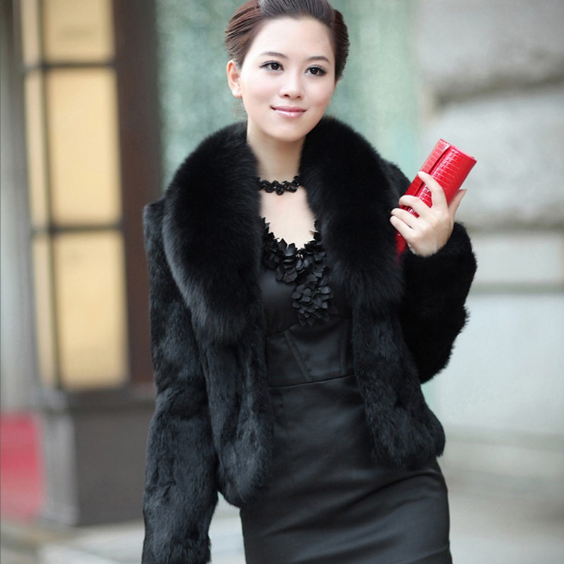 Short Fur Coats 2019 New Faux Fur Coat High Waist Fashion Slim Black Wine Red White Faux Fur Jacket Fake Rabbit Fur Jacket Coats