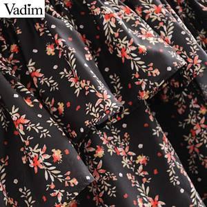 Image 3 - Vadim women elegant ruffled floral print dress long sleeve o neck midi dress female retro sweet dresses vestidos QC802