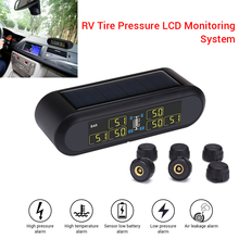 WONVON Smart Car TPMS Tyre Pressure Monitoring System Solar Power Wireless Tire LCD Auto Security AlarmTrailer
