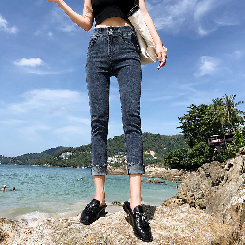 Straight-Cut Jeans Women's Capri Summer Thin 2019 New Style Korean-style High-waisted Versatile Slimming Jeans Women's