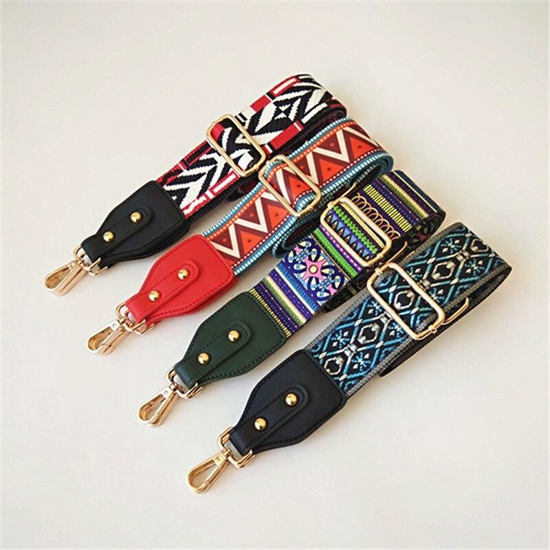 Nylon Colored Shoulder Bag Straps Belt Accessories Women Rainbow Adjustable Shoulder Hanger Handbag Strap Chain Bag Obag