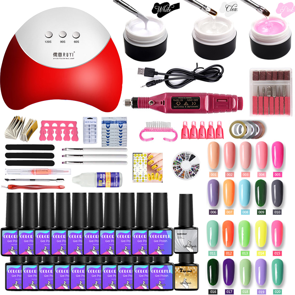 36W UV LED Lamp For Manicure Set For Nail Art Semi-permanent Uv Varnish 20 Colors Gel Nail Polish Set Electric Machine Tools Kit