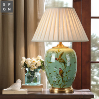 Copper table lamp American style for living room Jingdezhen ceramic lamp luxury Bedroom bedside lamp decorated led lamps