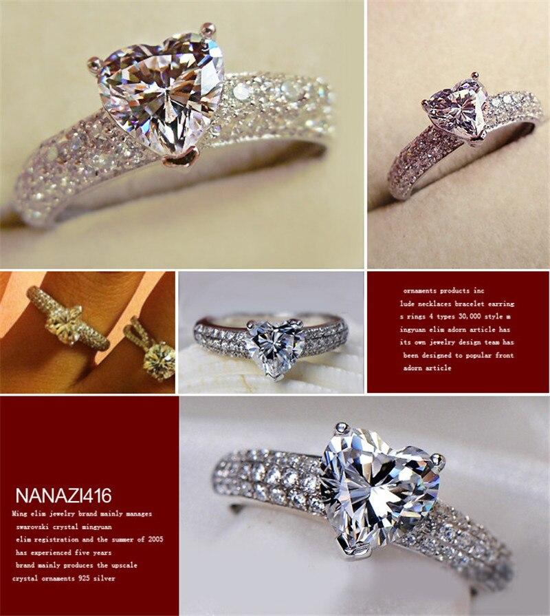 Heart Rings For Women Bridal Wedding Fashion Jewelry Engagement Ring Cubic Zirconia Elegant Anel Bijoux Femme CC048 5