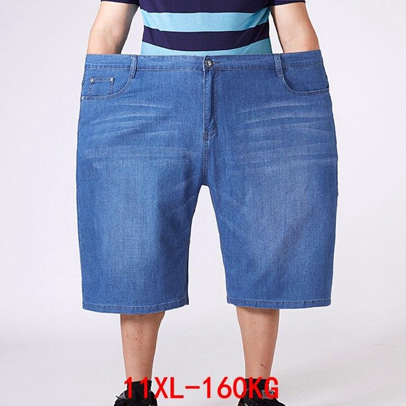Plus Size 9XL 10XL 11XL Large Size Loose Denim Shorts Summer Men's Shorts High Waist Elastic Large Size 52 54 56 Blue Black