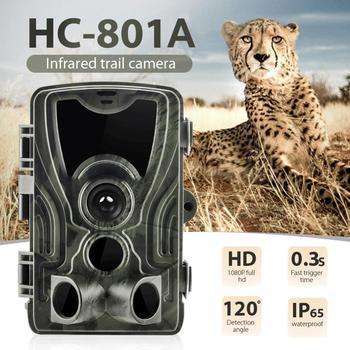 HC 801A Hunting Camera Trail Camera Night Version 16MP IP65 Wildlife Photo Traps 0.3s Trigger Hunt Camera Chasse Scouts suntekcam hc 801a 16mp 32gb hunting camera 1080p trail camera ip65 photo traps 0 3s trigger time 850nm wild camera for hunter