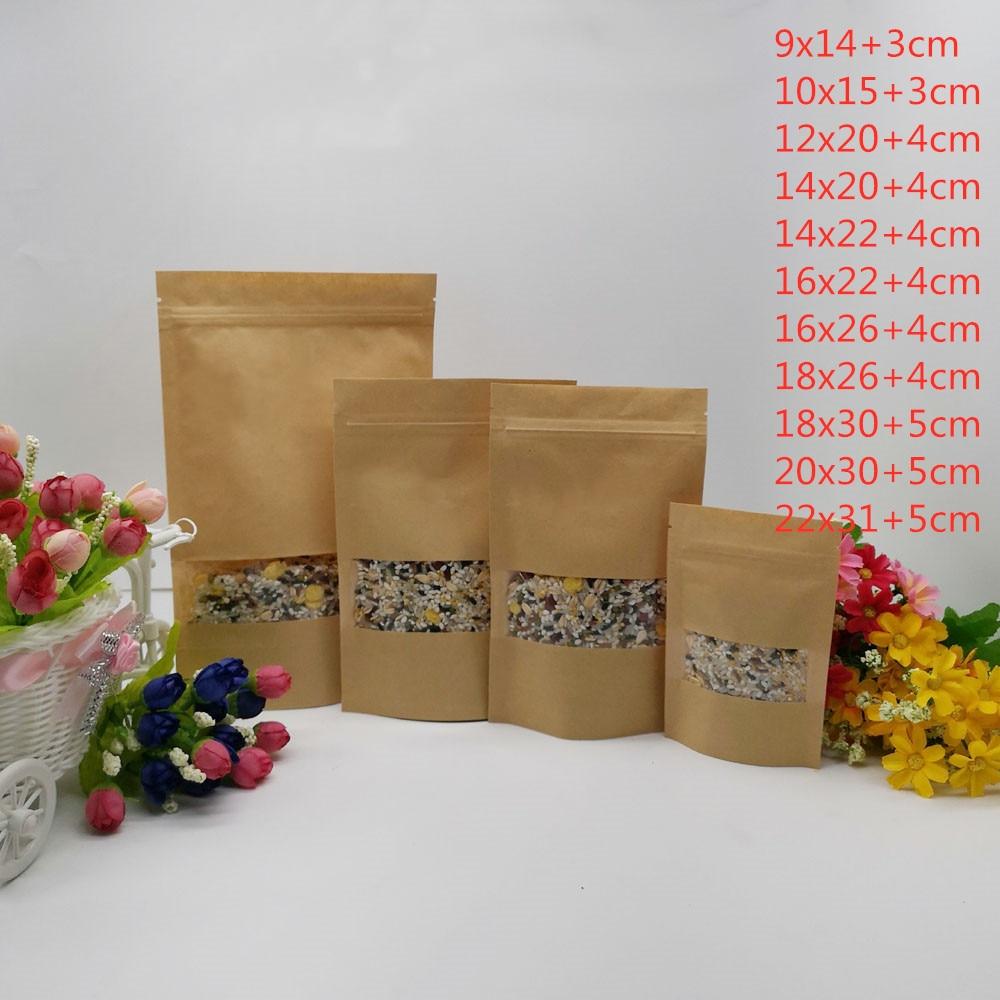 100pcs Zipper Kraft Paper Bags For Gifts Food Kraft Gift Candy Bags ZipLock Kraft Bag Window Stand Up Gift Wedding Packaging Bag
