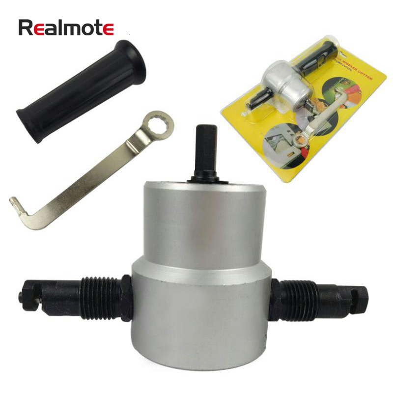 Realmote Double Head Metal Cutting Sheet Nibbler Saw Drill Attachment Free Tool
