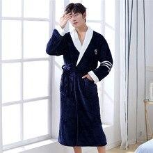 Courple Nightgown Pajamas Winter Warm  Sleepwear Pocket Long Sleeve Kimono 2020 Coral Fleece Men&women Robe Lovers Negligee