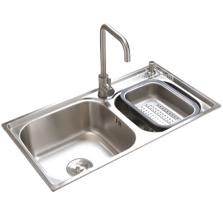 304 Stainless Steel Sink Wiredrawing Kitchen Double Slot Sink Thickened Vegetable Bowl Dish Washing Basin With Soap Dispenser