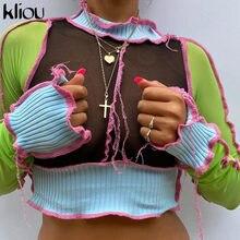 Kliou-camisetas sin mangas con volantes y cuello para mujer, cintas con paneles a la moda, Tops cortos ajustados de manga larga, trajes flacos informales