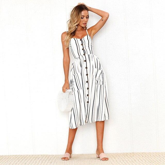 Vintage Casual Sundress Female Beach Dress 3