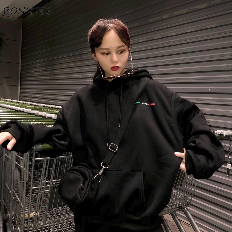 Hoodies Women Thicker Warm Funny Cartoon Print Trendy Pocket Korean Loose Simple All-match Ladies Sweatshirt Casual Womens Soft