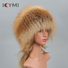 ICYMI Real Fox Fur Pompom Bomber Winter Hats Russian Female Beanies Natural Raccoon Hat Knitted Skullies Womens Cap