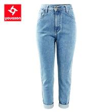 1886 Youaxon 100% algodón Vintage alta cintura mamá Jeans mujeres azul negro Denim Pantalones Boyfriend Jean mujer Jeans